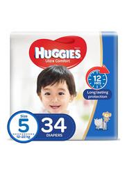 Huggies Ultra Comfort Superflex Economy Diapers, Size 5, 12-22 kg, 34 Count