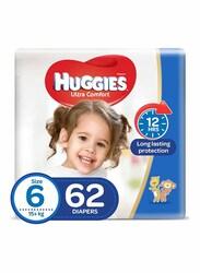 Huggies Ultra Comfort Diapers, Size 6, 15+ kg, 62 Count
