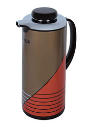 Nevica 1.3 Ltr Double Layer Glass liner Flask, NV-6035, Brown/Orange