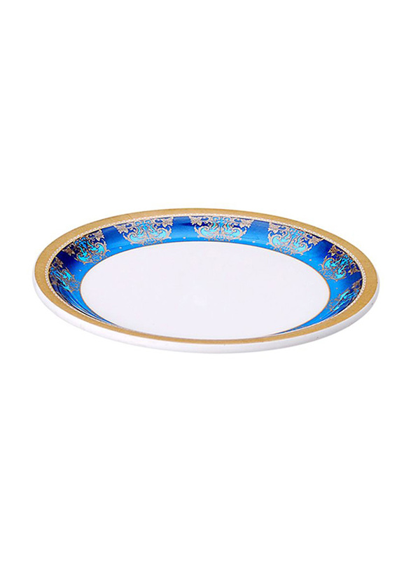 Dinewell 7.5-inch Royal Decor Side Plate, DWP5003RD, Blue/White