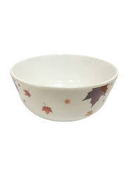 Dinewell 4.5-inch Melamine Vintage Leaves Bowl, DWB5008VL, White/Yellow