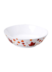 Dinewell 21cm Melamine Vintage Leaves Serving Bowl, DWC2081VL, White/Yellow