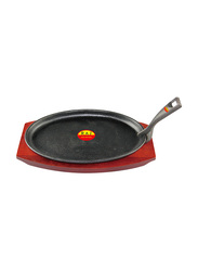 Raj 24cm Small Oval Sizzler Tray with Handle, COST01, 24x14x2 cm, Black
