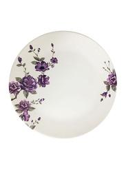 Dinewell 10.5-inch Blossom Melamine Dinner Plate, DWHP3089BL, White/Purple