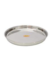 Raj 23.5cm Steel Round Beaded Thali, TB0001, Silver