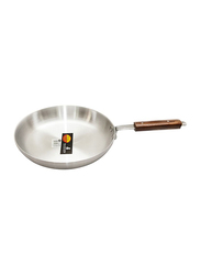 Raj 23cm Aluminium Frying Pan with Wooden Handle, RAFP12, Silver