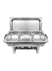 Raj 9 Ltr Stainless Steel Rectangle Triple Pan Chafing Dish, VCD003, 60.5x36.8x30.5 cm, Silver