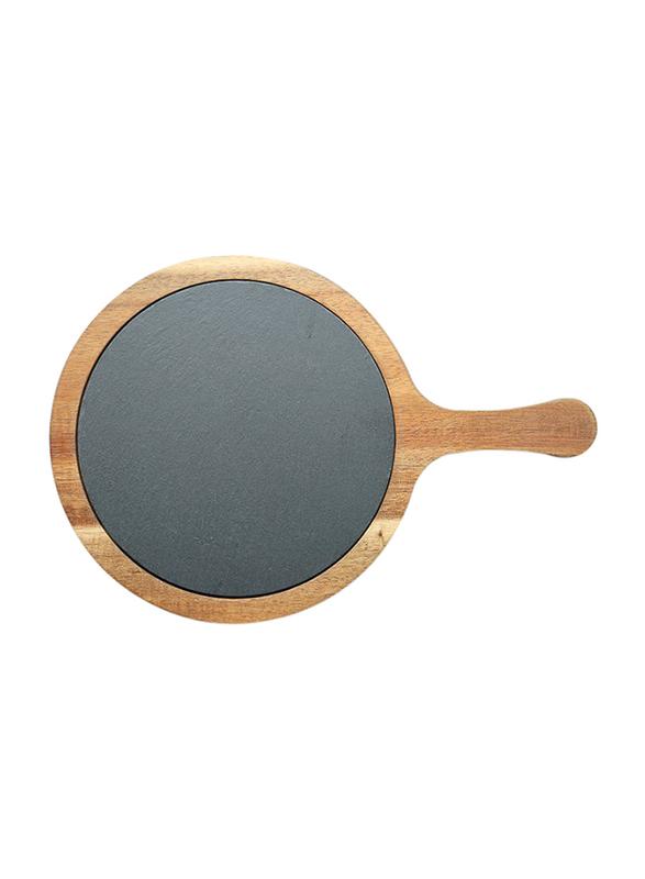 Raj 31cm Round Acacia Wood and Slate Serving Board, SL0022, 31x21x1.5 cm, Grey/Brown