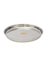 Raj 31.5cm Steel Round Beaded Thali, TB0003, Silver