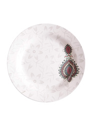 Dinewell 10.5-inch Jewels Melamine Dinner Plate, DWHP3089JW, White/Red