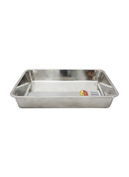 Raj Medium Steel Deep Baking Tray, HKDT0M, 33.5x25.3x6.1 cm, Silver