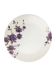 Dinewell 7.5-inch Blossom Melamine Side Plate, DWHP3090BL, White/Purple