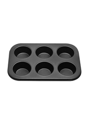 RK 6 Cup Non Stick Muffin Cupcake Baking Pan, 26x19x3 cm, Black