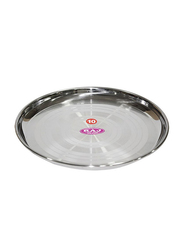 Raj 28cm Silver Touch Steel China Plate, STCP12, Silver