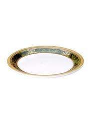 Dinewell 11-inch Melamine Green Golden Dinner Plate, DWP5002GG, White/Gold