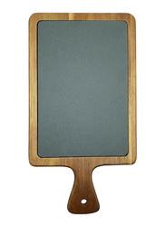 Raj 55cm Rectangle Acacia Wood and Slate Serving Board, SL0020, 55x12x1.8 cm, Grey/Brown