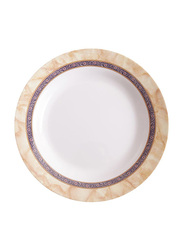 Dinewell 9-inch Hotensia Melamine Soup Plate, DWP5081HO, White/Beige