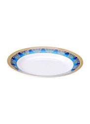 Dinewell 10.5-inch Royal Decor Soup Plate, DWSP001RD, White/Blue