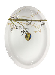 Dinewell 34cm Green Bamboo Melamine Oval Platter, DWR5012GB, White