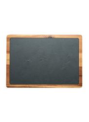 Raj 33cm Rectangle Acacia Wood and Slate Serving Board, SL0021, 33x23x1.5 cm, Grey/Brown