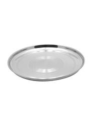 Raj 45cm Steel Silver Touch Thala Round Dinner Plate, STT020, Silver