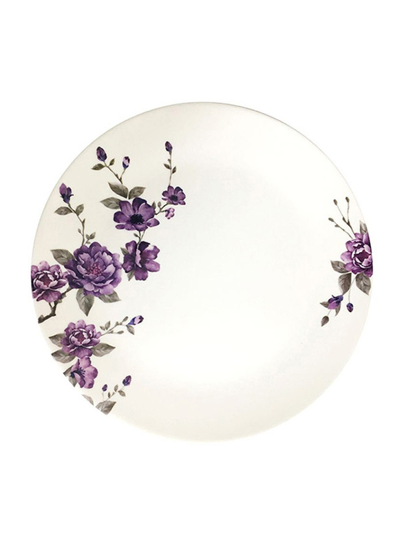Dinewell 9-inch Blossom Melamine Soup Plate, DWP5081BL, White/Purple