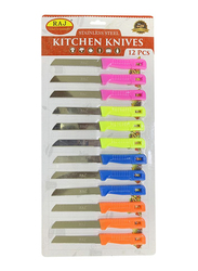 Raj 12-Piece Diamond Knife Set, RSSP25, Pink/Green/Orange/Blue
