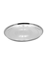 Raj 40cm Steel Silver Touch Thala Round Dinner Plate, STT018, Silver