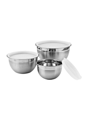 Raj 3-Piece Stainless Steel Mixing Bowl with Plastic Lid Set, VPI014, Silver/White