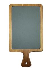 Raj 34cm Rectangle Acacia Wood and Slate Serving Board, SL0019, 34x18x1.5 cm, Grey/Brown