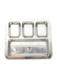 Raj 32.5cm Stainless Steel Square Compartment South Indian Tray, SIT004, Silver