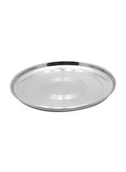Raj 35cm Steel Silver Touch Thala Round Dinner Plate, STT016, Silver