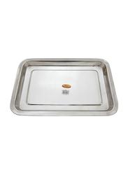 Raj 45cm Steel Serving Tray, SST002, 45x32x2.5 cm, Silver