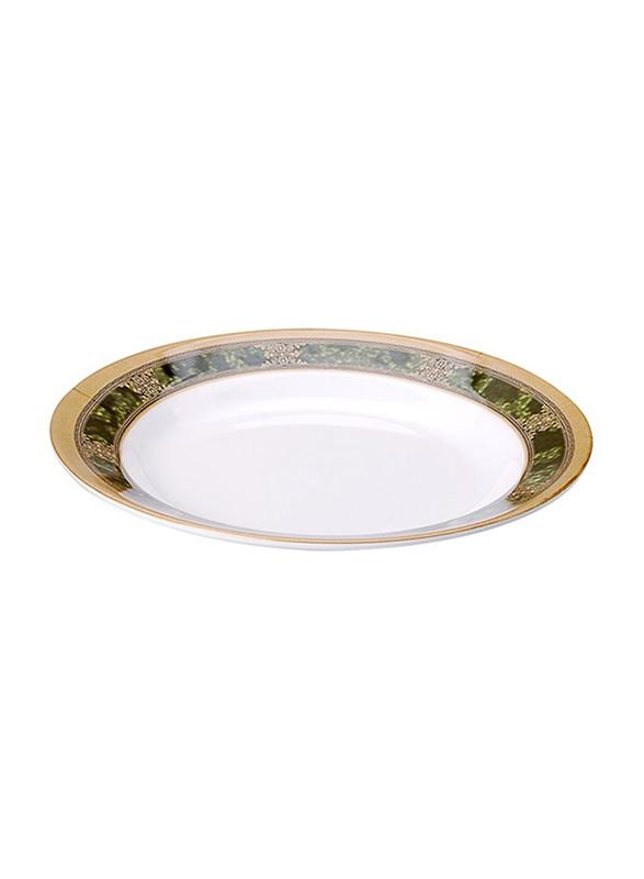 Dinewell 10.5-inch Melamine Green Golden Soup Plate, DWSP001GG, White
