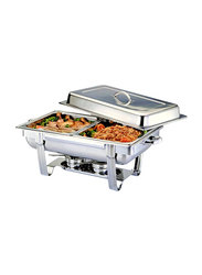 Raj 4 Ltr Stainless Steel Rectangle Double Pan Chafing Dish, VCD002, 60.5x36.8x30.5 cm, Silver