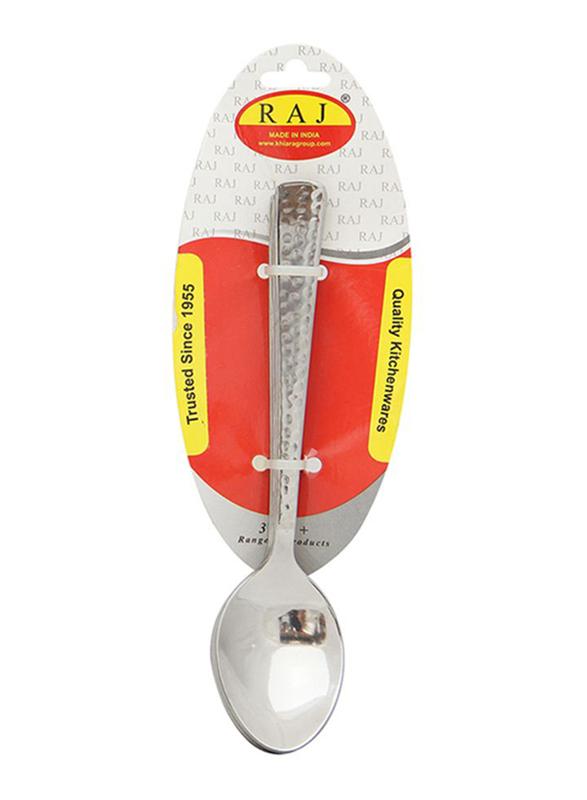 Raj 6-Piece Stainless Steel Hammered Dessert Spoon Set, RHDS06, Silver
