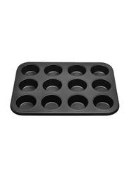 RK 12 Cup Non Stick Muffin Cupcake Baking Pan, 35.5x26.5x3 cm, Black