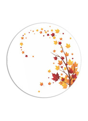Dinewell 10.5-inch Vintage Leaves Melamine Dinner Plate, DWHP3089VL, White/Orange