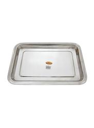 Raj 48cm Steel Serving Tray, SST003, 48x36x2.5 cm, Silver