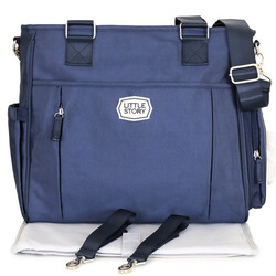 Little Story Mamma Nappy Bag with Changing Pad and Hook Set, Blue