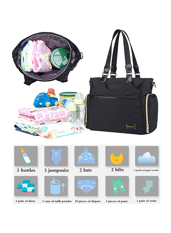 Little Story Matilda Diaper Bag, Black