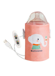 Sunveno Portable Baby Milk Bottle Warmer, with USB, Elephant, Pink