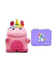 Nohoo Bento Unicorn 3D Baby Backpack Bag, with Lunch Box, Purple