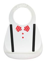 Eazy Kids 3-D Designer Silicone Bib, Black and White Tie