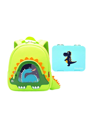 Nohoo Backpack Bag and Lunch Box School Set, Stegaurous Bento, Green