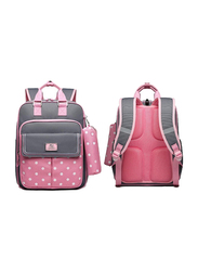 Sambox Star School Backpack Bag for Kids with Pencil Case, Polka, Grey/Pink