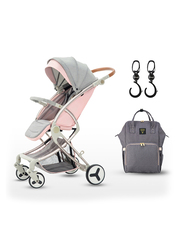 Teknum A1 Stroller with Sunveno Grey Diaper Bag, Pink