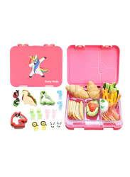Eazy Kids 6 & 4 Compartment Convertible Bento Lunch Box with Sandwich Cutter, Veggie Cutter and Animal Shaped Fruit Picks, Unicorn, Pink