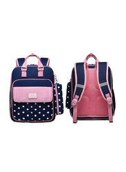 Sambox Star School Backpack Bag for Kids with Pencil Case, Polka, Navy/ Pink