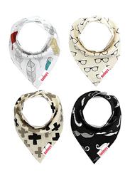 Eazy Kids 4-Pieces Organic Cotton Bandana Bibs Set, Glasses/Mustaches, Black/Grey/Beige